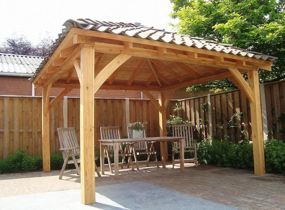 Pri len van landelijke bouwstijl - Overdekt terras in hout ...